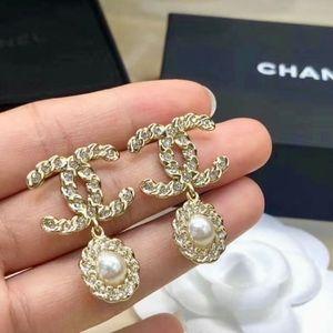CHANEL CC Gold Crystal Pearl Drop Earrings